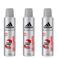 Kit 3 Desodorantes Aerosol Adidas Masculino Cool & Care Dry Power 150ml