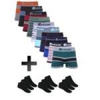 [Marketplace] Kit Com 10 Cuecas Boxer Sem Costura Ocean Sports + 05 Pares De Meias Curtas