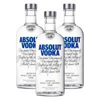 Kit: 3 Vodkas Importada Absolut Natural 750ml