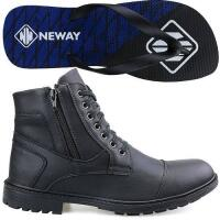 [AME por 39,95] [Marketplace] Kit Bota Casual Neway Ziper Preto + Chinelo