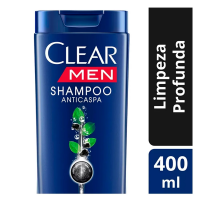 4 Unidades Shampoo Clear Men Limpeza Profunda 400ml
