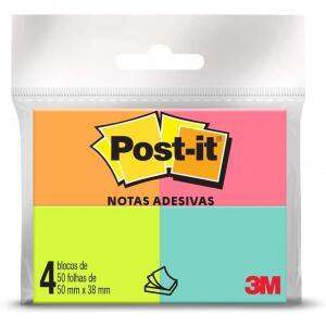 Blocos de Notas Adesivas Post-it Tropical - 4 Blocos de 38 x 50 mm - 50 folhas cada - HB004402267 - Multicor