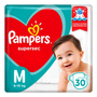 3 Pacotes Fraldas Pampers Supersec M - 90 Unidades