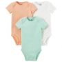 Conjunto com 3 Bodies Laranja Verde e Branco Layette Child of Mine Made by Carter's